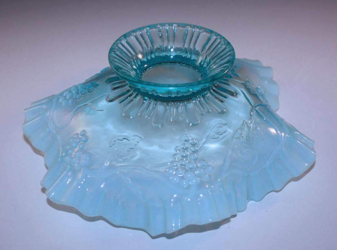 Jefferson Glass Company blue  opalescent ruffle grape vine footed compote bowl  EAPG