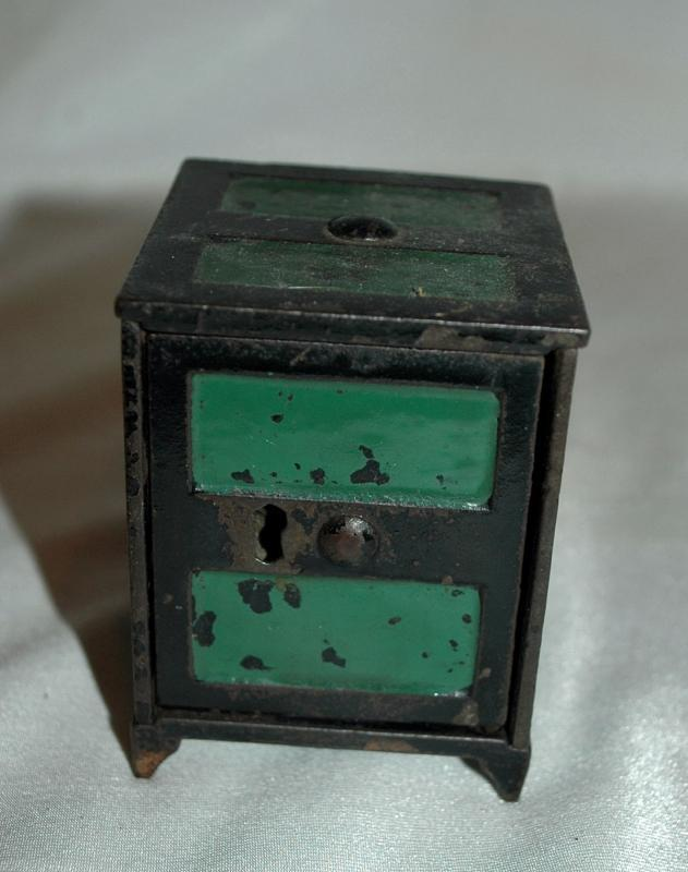Antique Cast Iron Safe Style Coin Bank  Key Operated with Hinged Door