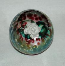 Dichroic Glass Rose Paperweight