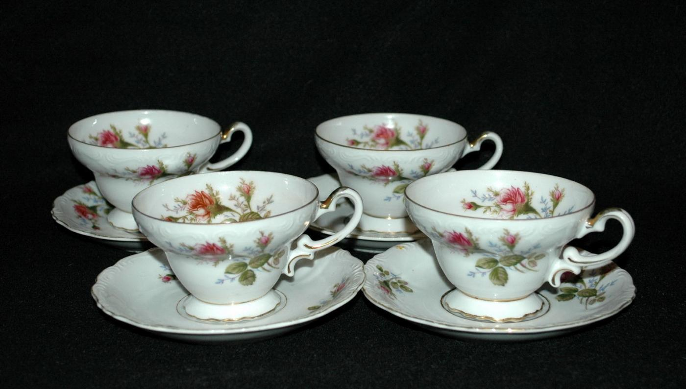 Aladin Occupied Japan Rose Pattern Tea Cup & Saucers 4 Sets  Fine China