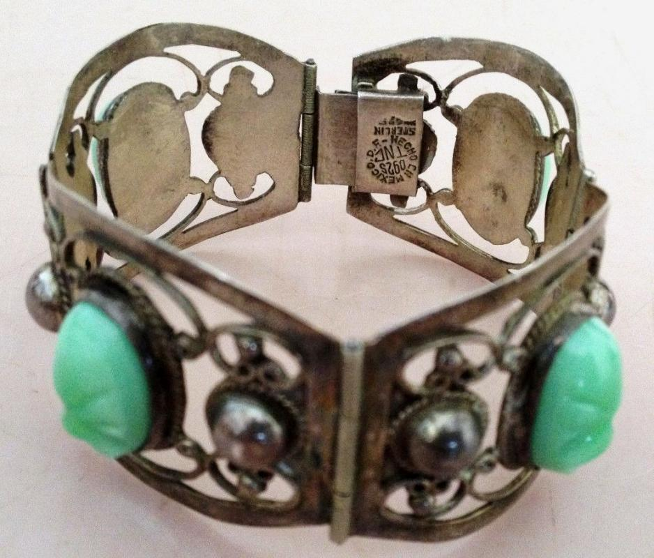 Vintage  Mexico Sterling and Carved Green Onyx Bracelet