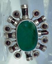 Huge Irish Celtic  Sterling Silver , Garnet,  Green Agate  Medallion Pendant