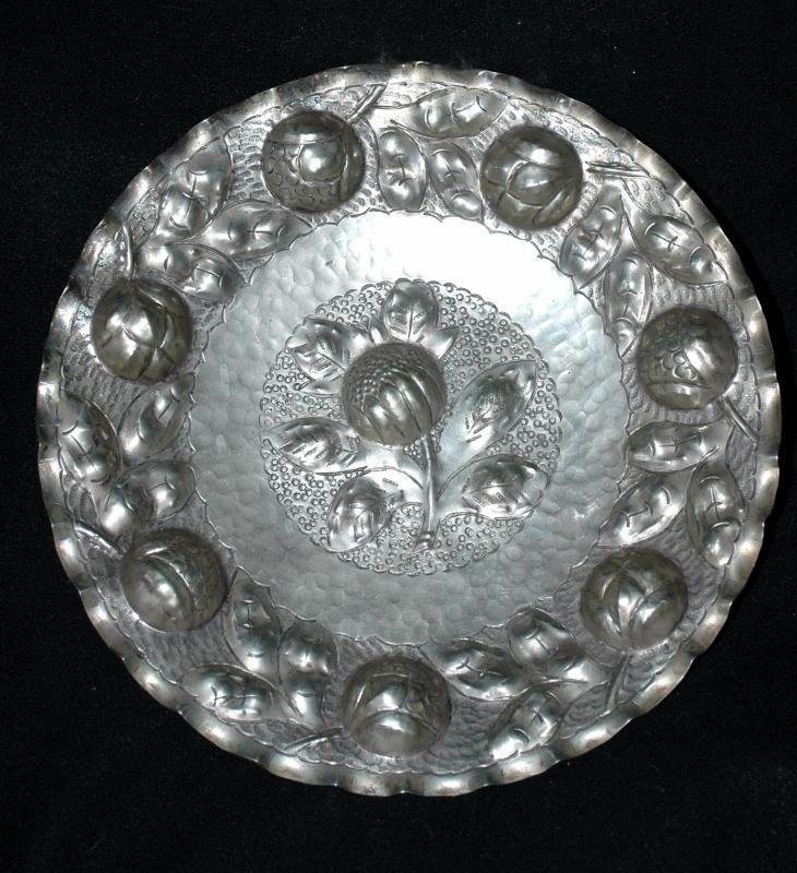 Hand Hammered Silver Metal Deep Repousse Artichokes Decorative Wall Plate
