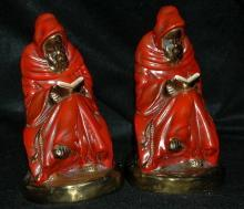 Bookends Antique Electroformed Bronze Clad Monk Book Ends Pair