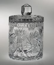 Handcut Crystal  Biscuit or Cookie Jar with  beveled lid   Mouth Blown in a Pinwheel Design