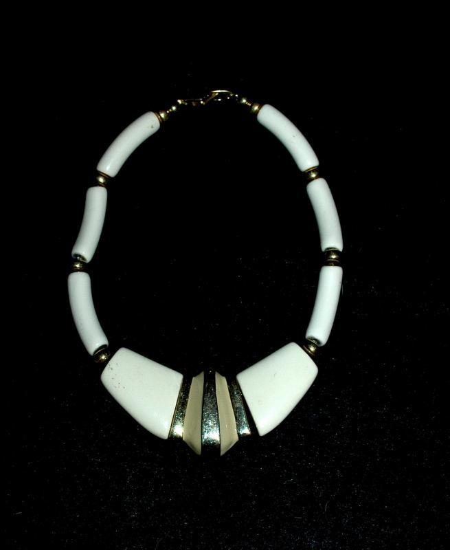 Trifari Chunky Necklace, High Fashion,  Enameled Gold Tone Center piece and Ivory Colored Beads.