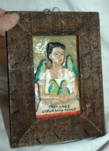 Frida Kahlo Portrait  Old Mexican Folk Art , Hand Painted Wood Framed