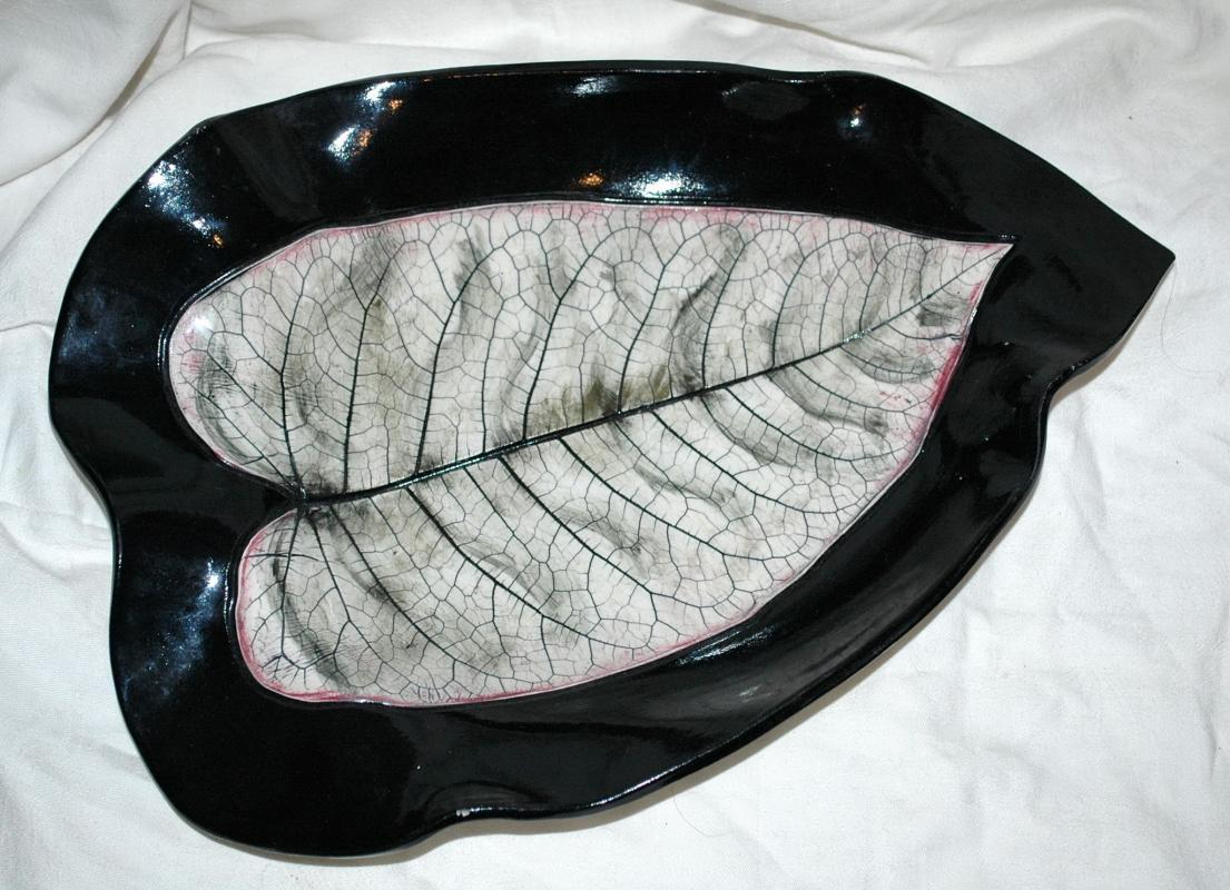 Large Leaf Platter Dish  Art Pottery Signed