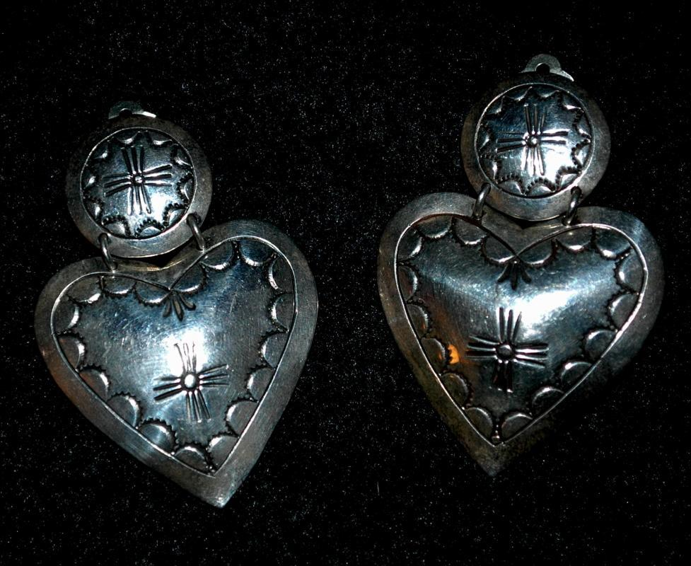 Native American Sterling Silver  Heart Concho Clip Large On Earring  Signed HDM