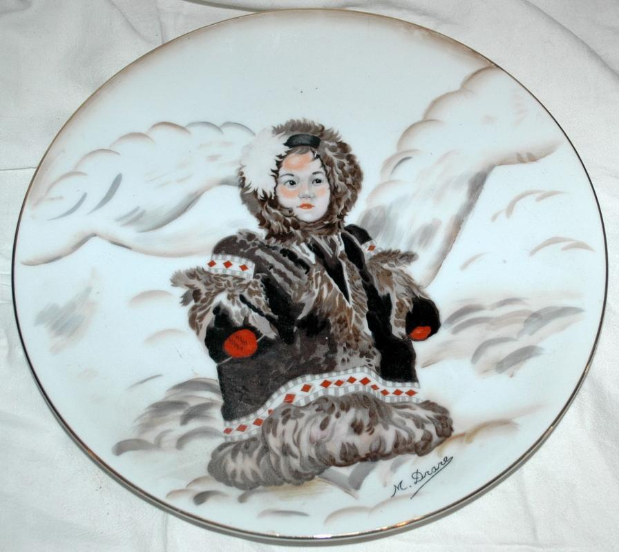Alaska Eskimo Girl Hand Painted Signed Platter, Drarer, from Kodiak Navy Wives Club