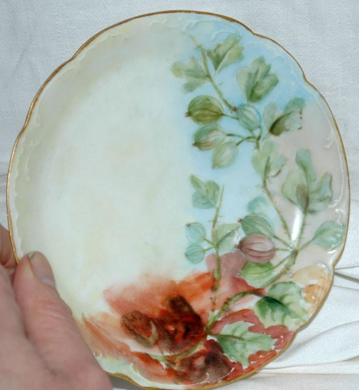 ANTIQUE  HAVILAND H & CO LIMOGES FRANCE PORCELAIN 1900 , Hand Painted Desert Dish Bowl