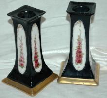 A Pair of O & EG (Oscar & Edgar Gutherz) Royal Austria Porcelain Candlesticks Black with Roses