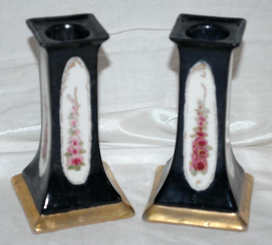 A Pair of O & EG (Oscar & Edgar Gutherz) Royal Austria Porcelain Candlesticks Black with Roses