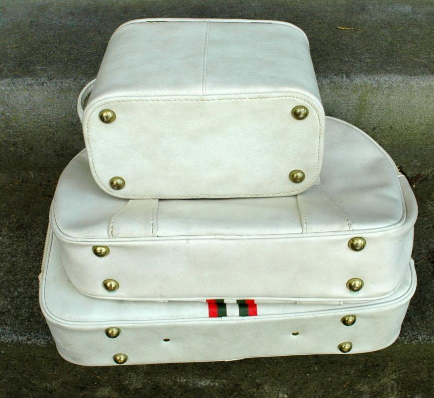 3 Piece Luggage Set Soft White Vinyl with Olive Green & Coral Stripe