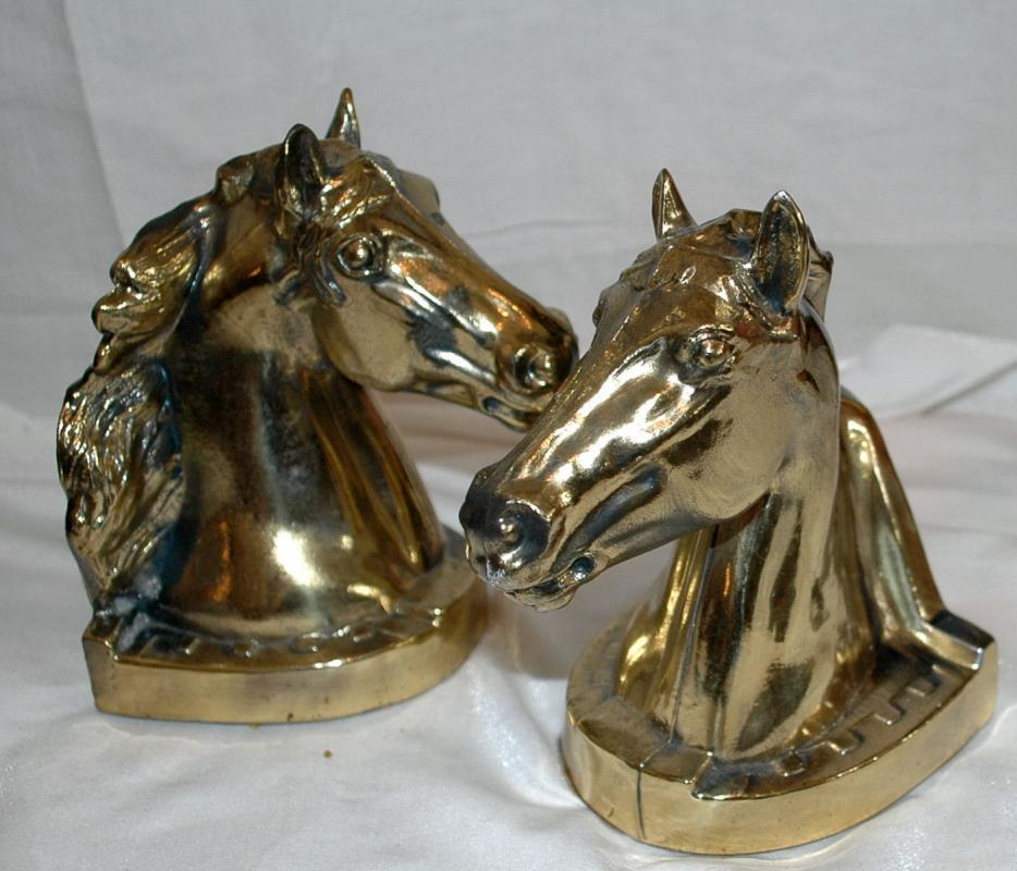 EQUESTRIAN BOOKENDS - HORSE HEAD BOOKENDS - CAST METAL  Brass   BOOKENDS