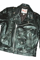 Vint. Black Leather MotorCycle Biker Jacket  38