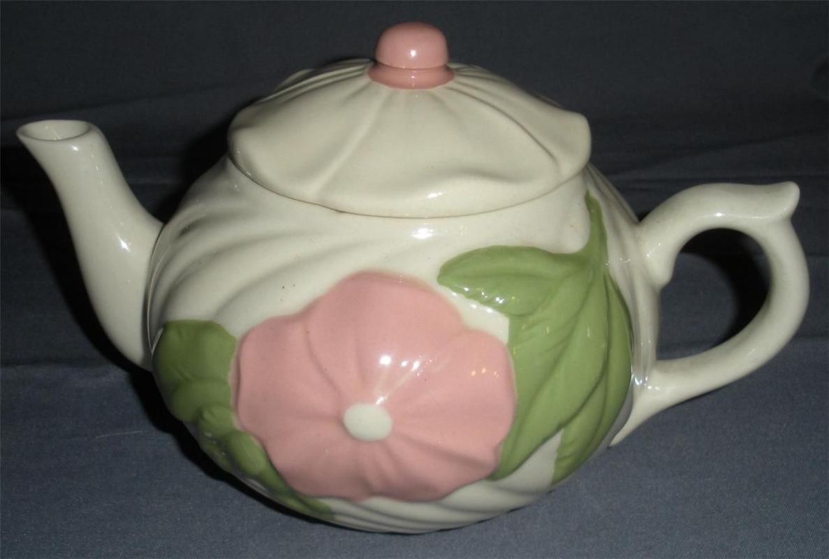 U.S.A  Pottery Cream Swirl with Flower Teapot