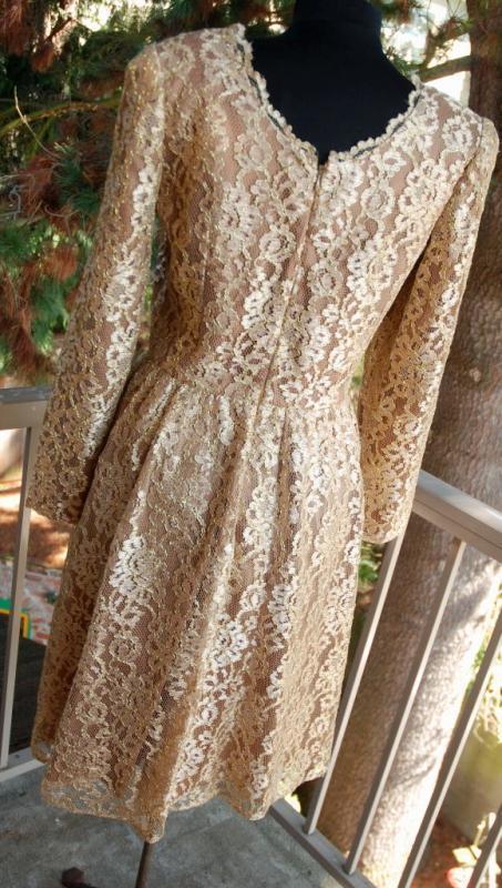 Jackie Bernard Bronze Gold Lace Dress Vintage sz 12 Cocktail Dress