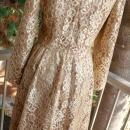 Jackie Bernard Bronze Gold Lace Dress Vintage sz 12 Cocktail Dress
