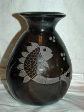 MATEOS MEXICO BLACK POTTERY VASE 9