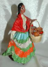 Vintage Mexican Senorita Paper Mache Colorful Traditional Dress Folk Art