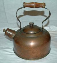 Antique Copper Tea Kettle with Whistle , Moveable Bail