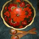 KHOKHLOMA ART - HAND PAINTED MADE IN RUSSIA LACQUERED WOOD Bowl with 2 spoons