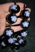 Hand painted Hawaiian  Kukui Nut Necklace   Lavender  Hibiscus  Flowers extra  long