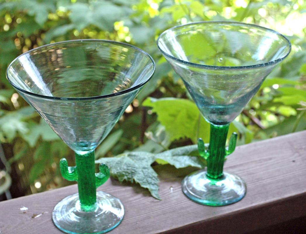 Mexican Cactus Stem Margarita Glasses Set of 2 Vintage Hand-blown Large Size