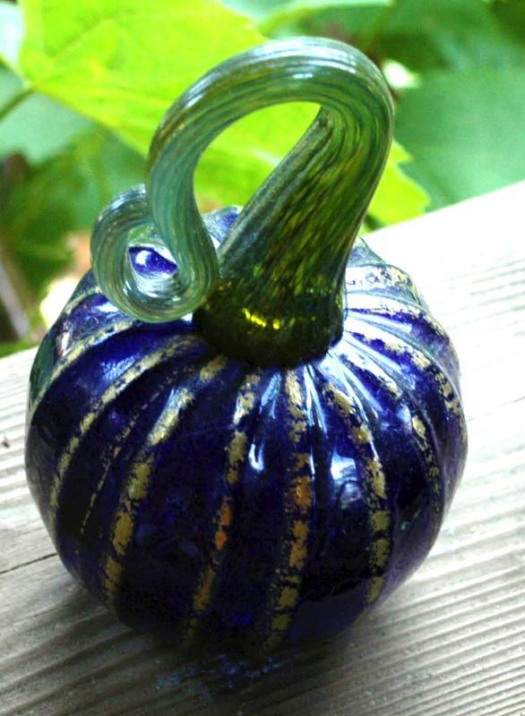 Signed Art Glass Cobalt Blue and Gold Pumpkin or Squash