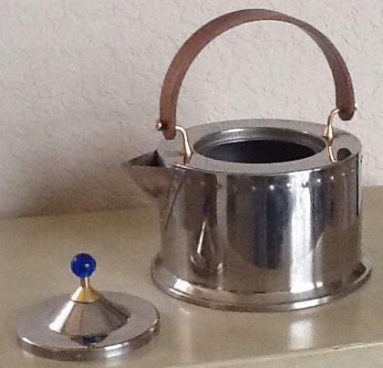 Jorgensen Bodum Tea Kettle, Pot, Modernist ,  Stainless Steel, Teak, Blue Glass