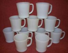 12 Vintage  Fire King Anchor Hocking  Ivory White D-Handle Coffee Mugs.
