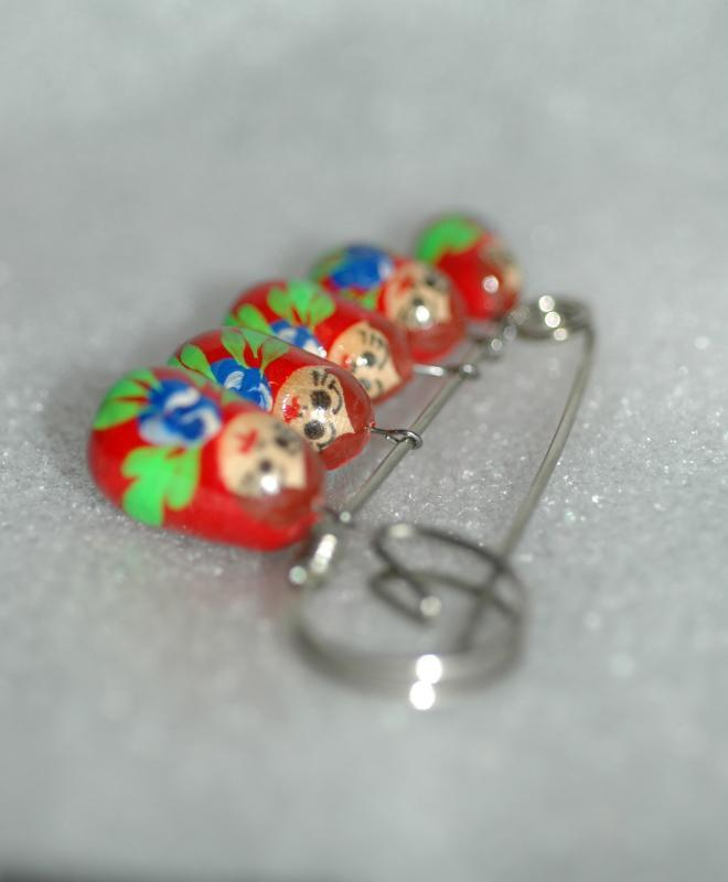 Russian Matryoshka Dolls Dangle Pin. Hand Painted
