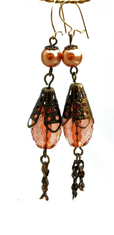 Unique Victorian Dangle Earrings, Hand crafted from faceted Lucite