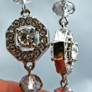 Unique Swarovski Crystal & Silver Long Dangle Earrings Double Sided Octagonal  Bling Original Hand Crafted Design