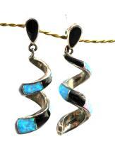 Sterling Silver Opal and Onyx Spiral Earrings