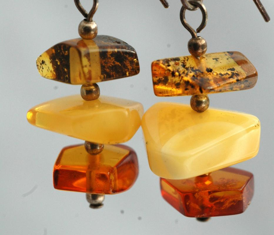 Stacked Amber Nugget & Sterling Silver Earrings/ Yellow, Cognac, Green Amber Chunks
