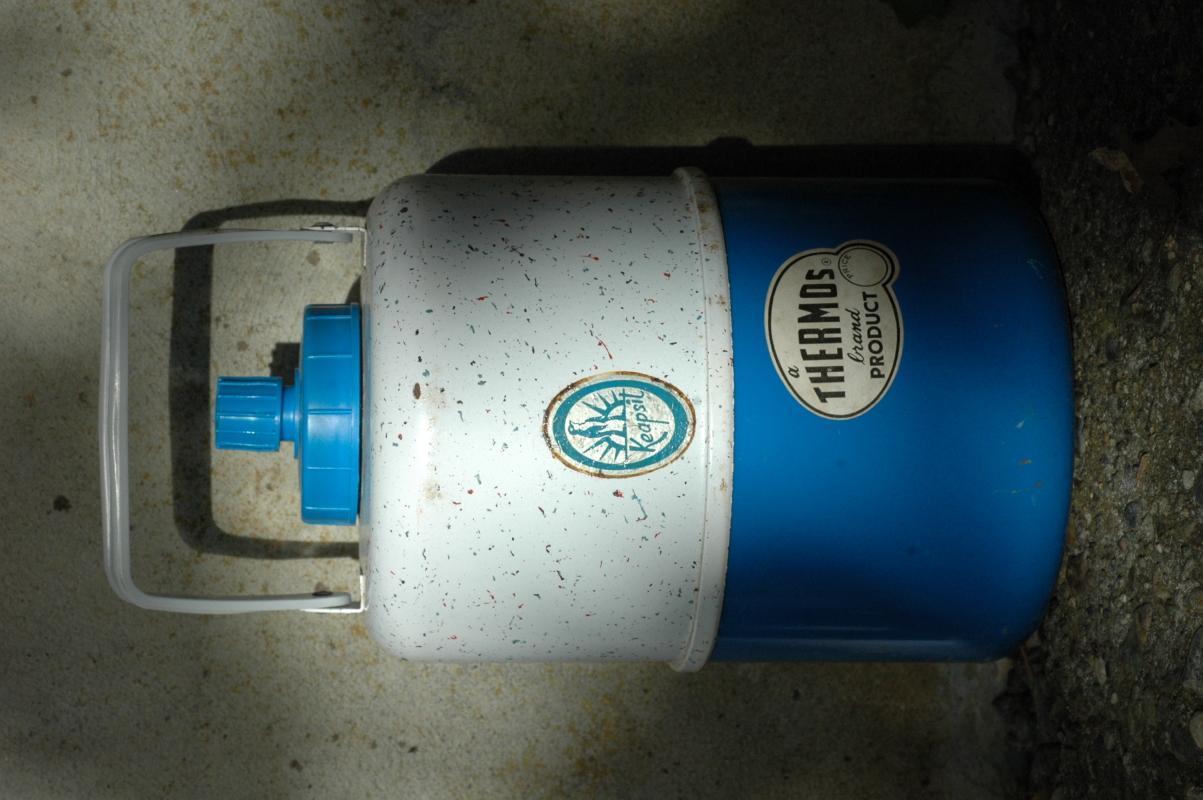 Vintage Keepsit Thermos Brand Jug  Blue &  White Speckled  / Enamel Metal / Glass lined