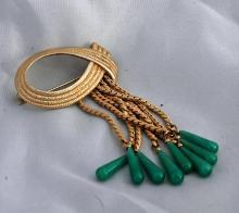 Looped Rope Tassel Brooch Gold with Green Glass Tear Drop Dangles