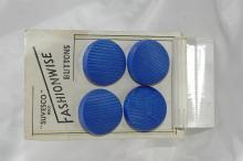 4 Suvesco RECD Fashionwide Large Carved  Blue  Glass  Buttons Art Deco French