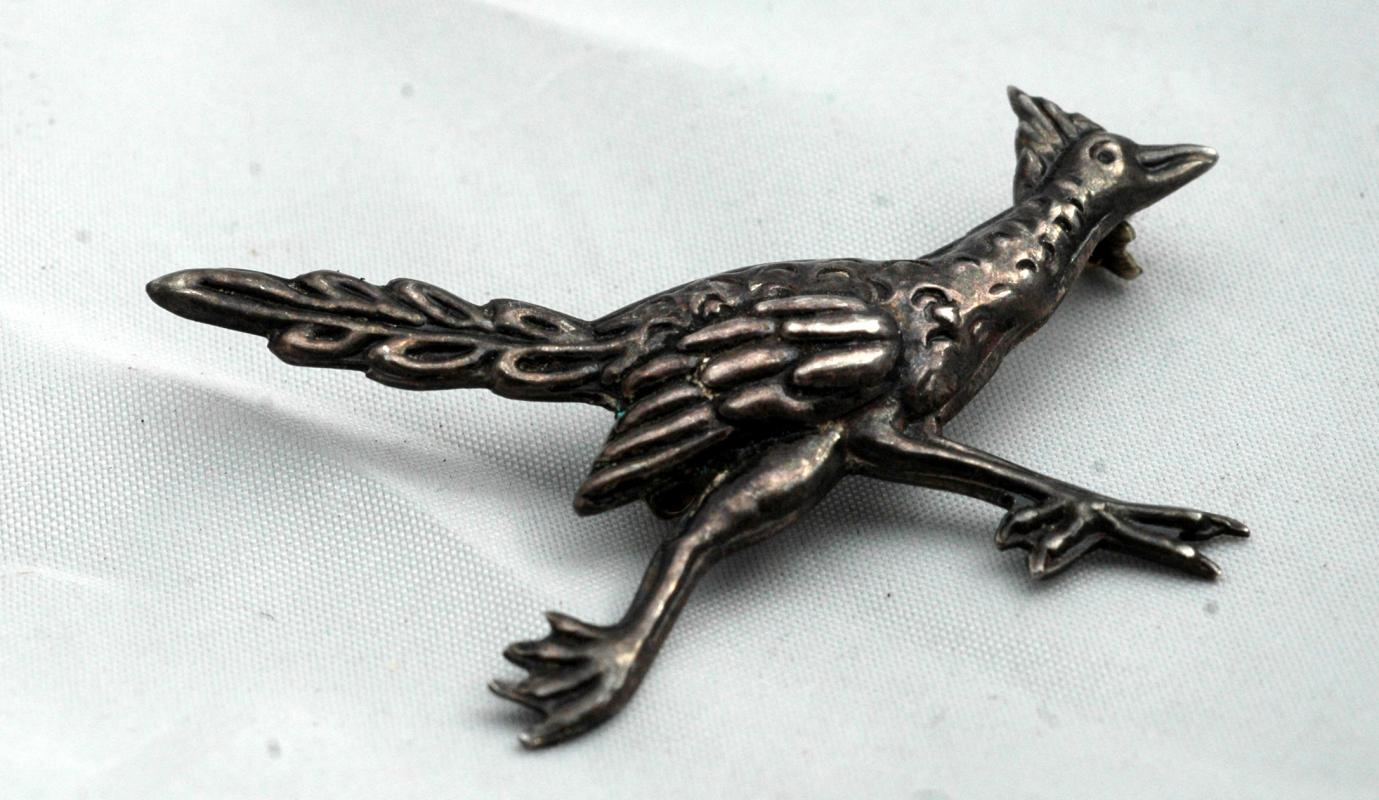 Vintage Taxco Sterling Roadrunner Pin Signed EDR / 925 with Eagle Mark