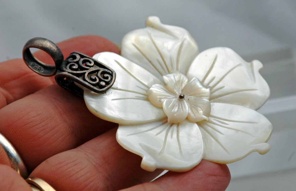 Sterling Silver Large Mother of Pearl Carved Flower Pendant