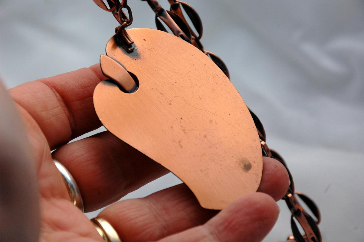 Mid-Century Modernist Solid Copper Pendant Necklace & Chain