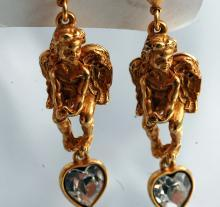 Kirks Folly Angel Crystal Heart Earrings Swarovski Crystals