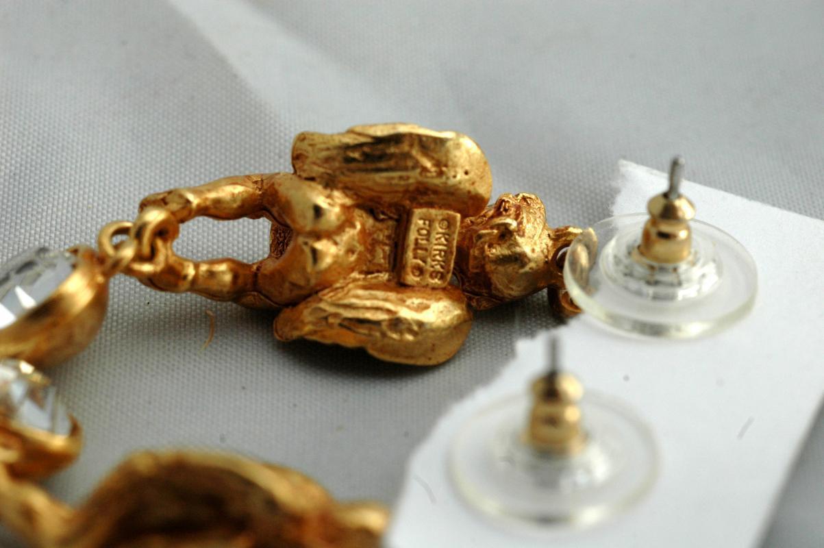 Kirks Folly Angel Crystal Heart Earrings Swarovski Crystals