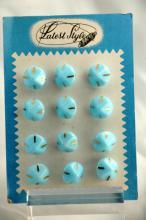 Antique Czech Glass Buttons on Card Art Deco Fancy Baby Blue with swirls and gold  Latest  Style Brand
