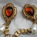 Dual Sweater Pins Amber Glass Shield Pearl Drop with Ornate Chain Links