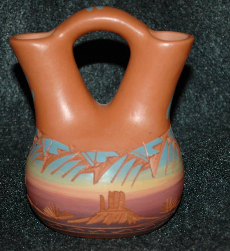Signed Navajo Wedding Vase  Etched  Pottery