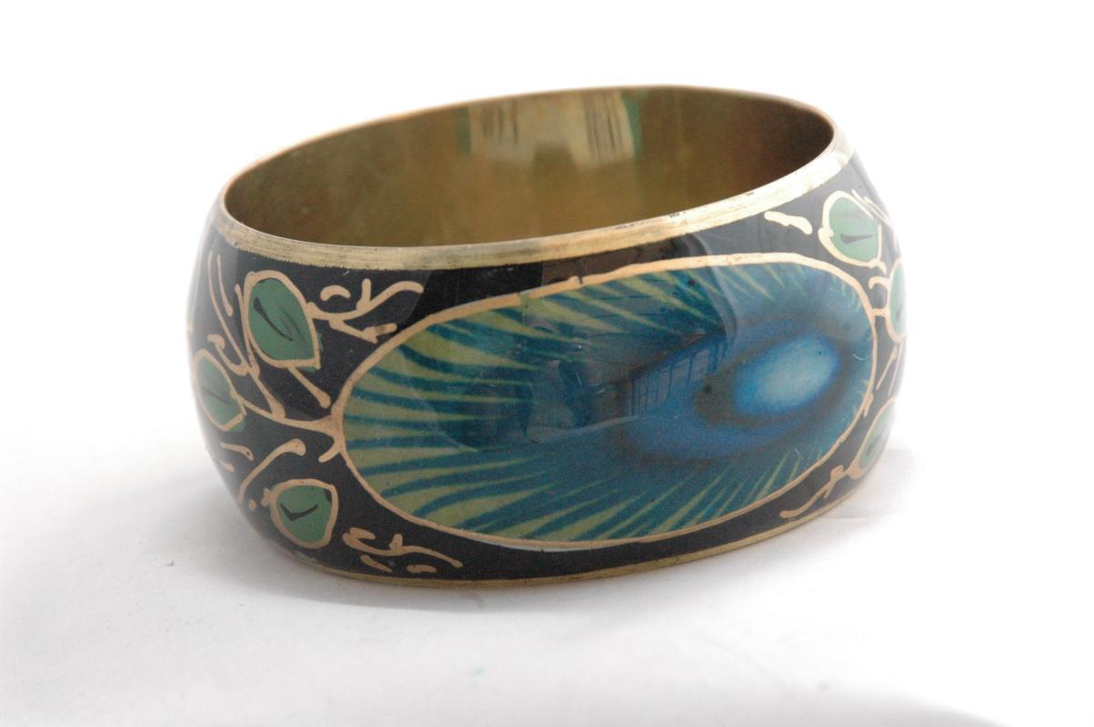 Peacock Feathers Brass Bangle  Hand Painted  Ethnic