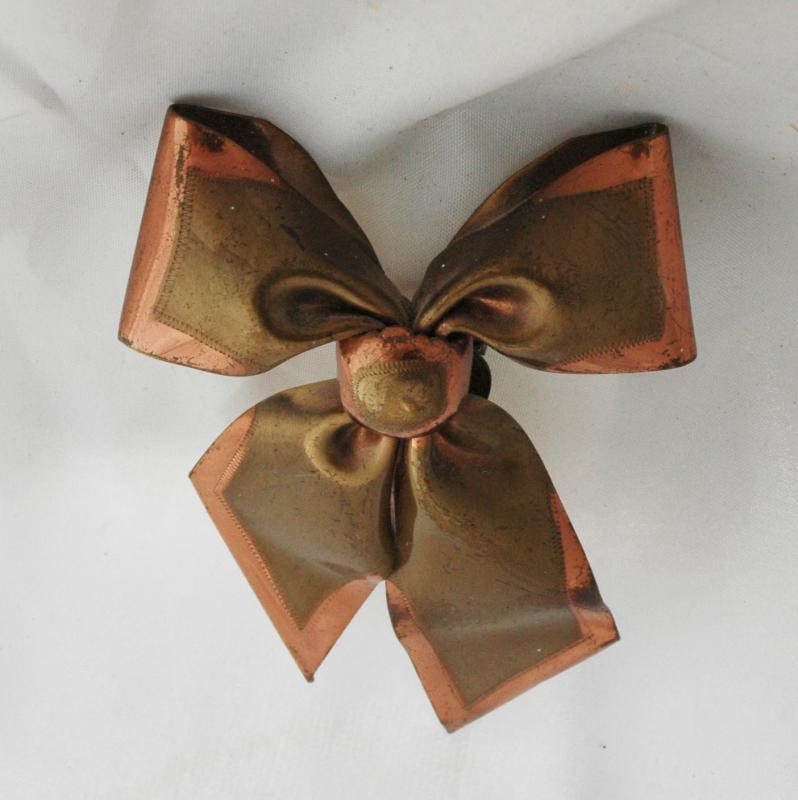 Antique Dress Clip Large 2-tone Copper &  Brass Bow